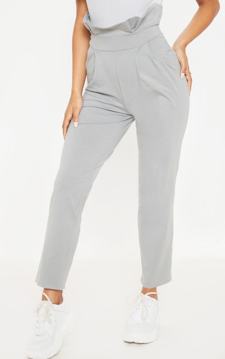 Grey Paperbag Waist Tapered Pants 2