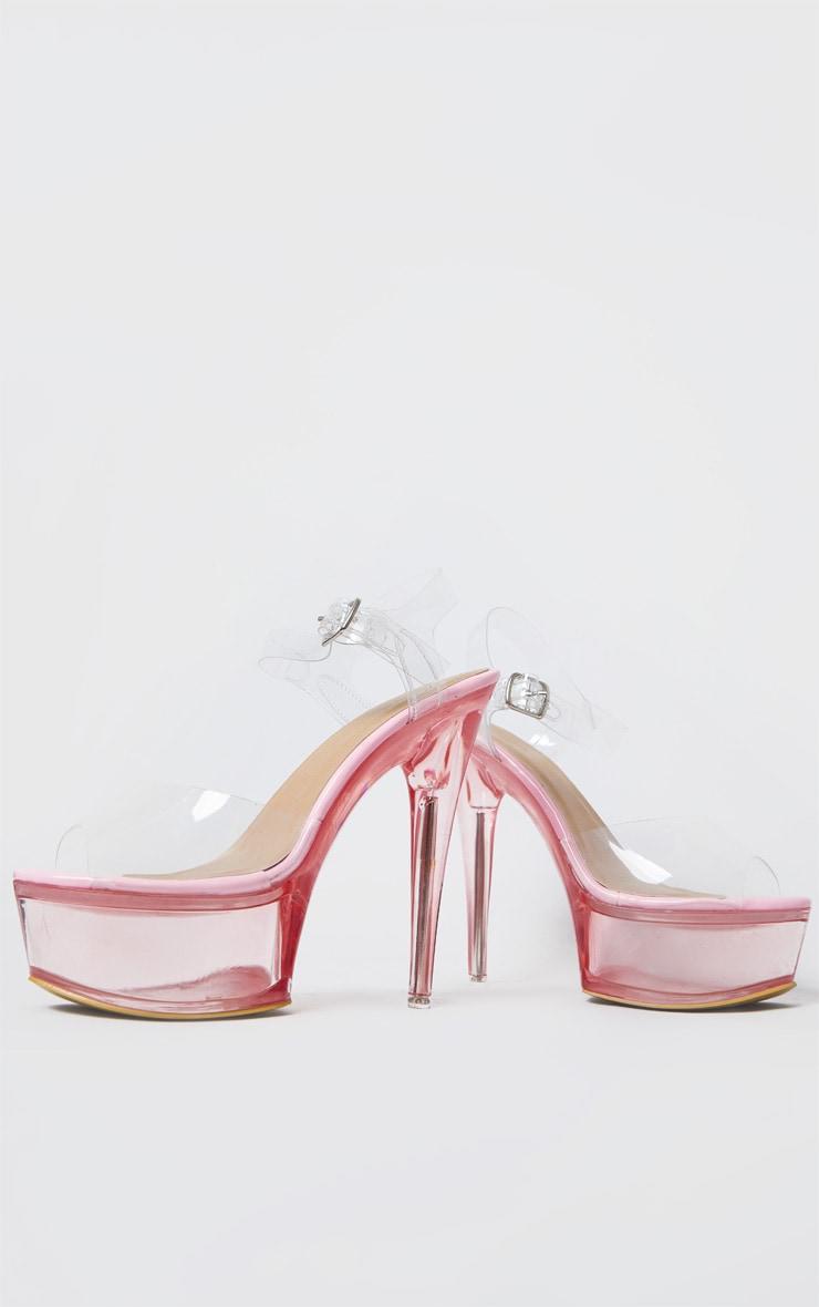 Sandales plateformes très hautes roses 3