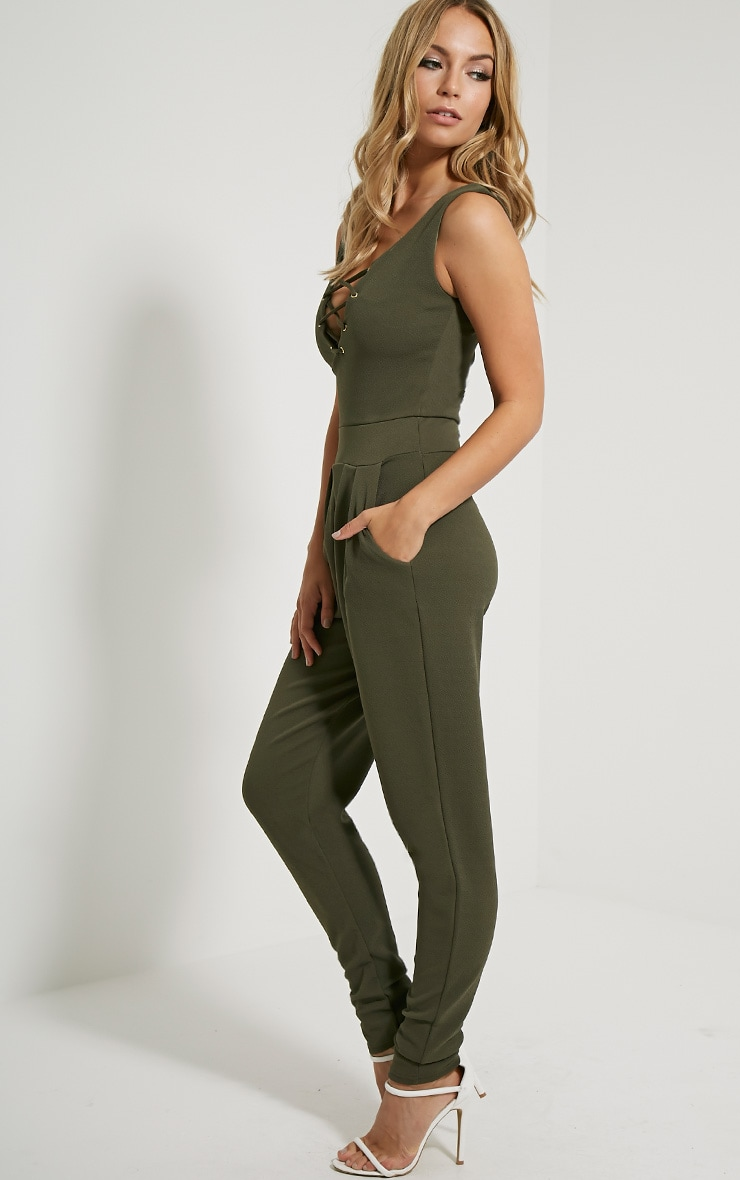 Remi Khaki Lace Up Crepe Jumpsuit 4