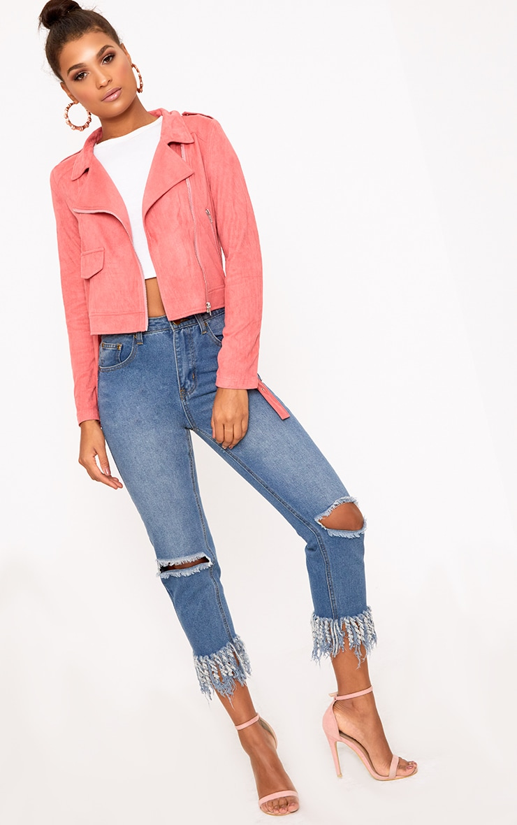 Niki Rose Faux Suede Biker Jacket 4