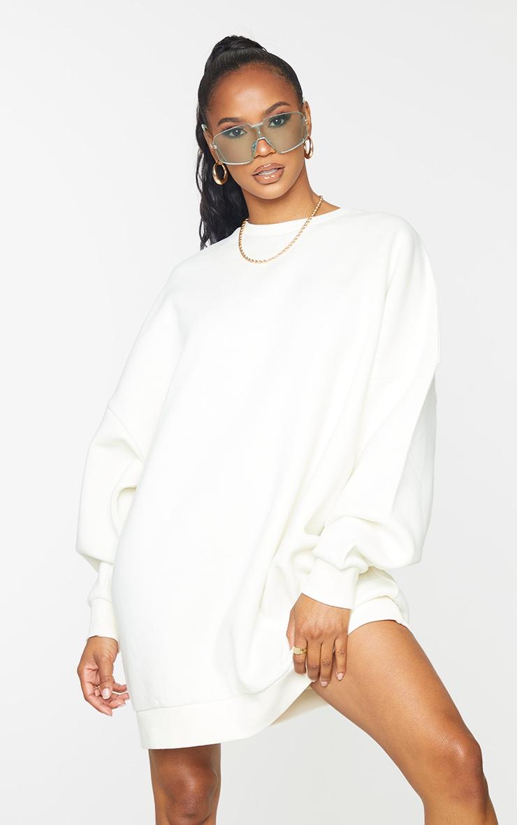 Recycled Cream Wellness Edition Slogan Sweat Jumper Dress 2