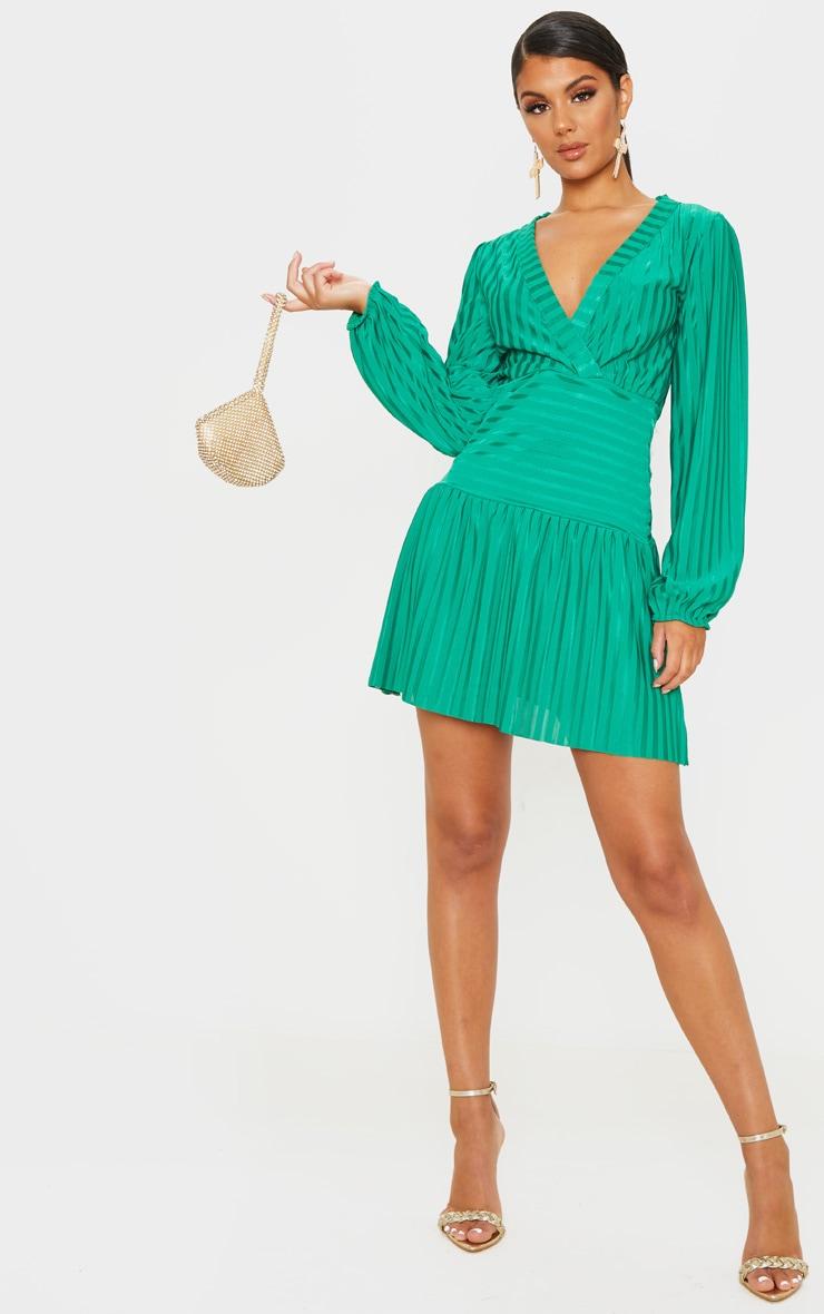 Bright Green Striped Puff Sleeve Wrap Skater Dress 1