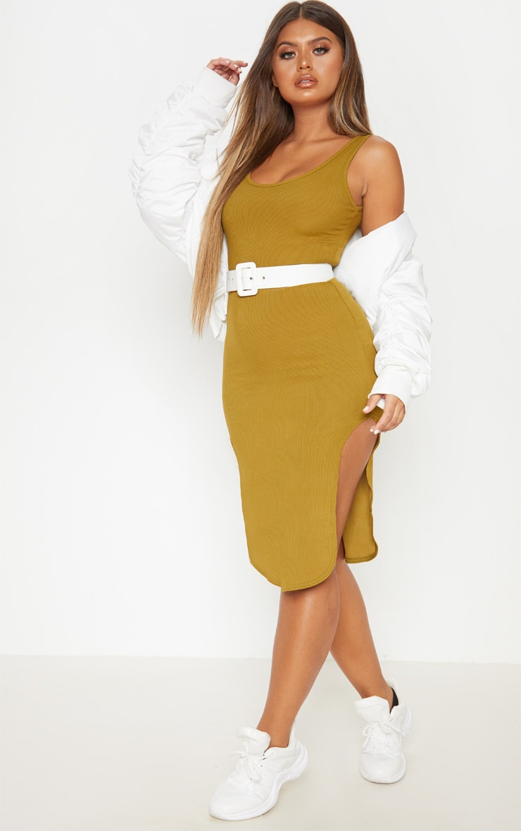 Khaki Ribbed Scoop Neck Bodycon Dress