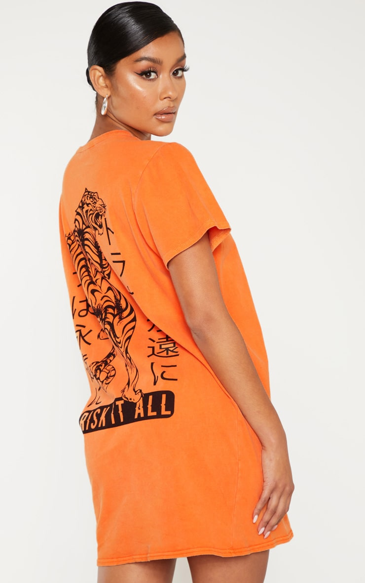 Orange Tiger Printed T Shirt Dress 2