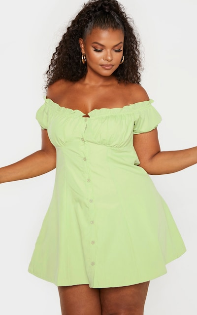 204036dde37 Plus Sage Green Button Front Puff Sleeve Shift Dress PrettyLittleThing  Sticker