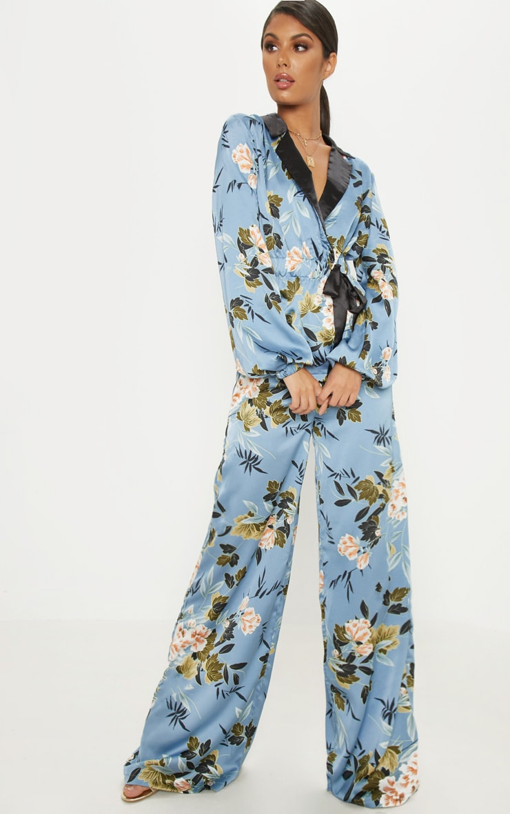 Blue Satin Floral Print Wide Leg Trouser 1