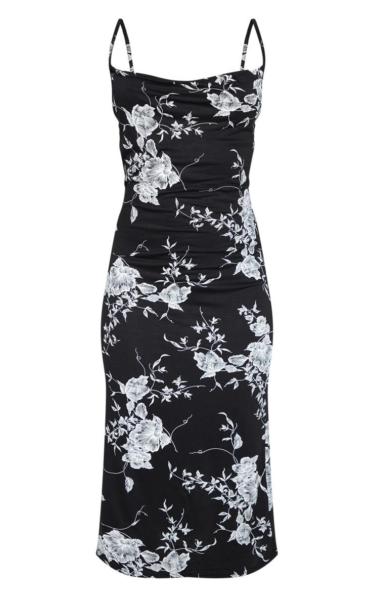 Black Leaf Print Cowl Midi Dress 3