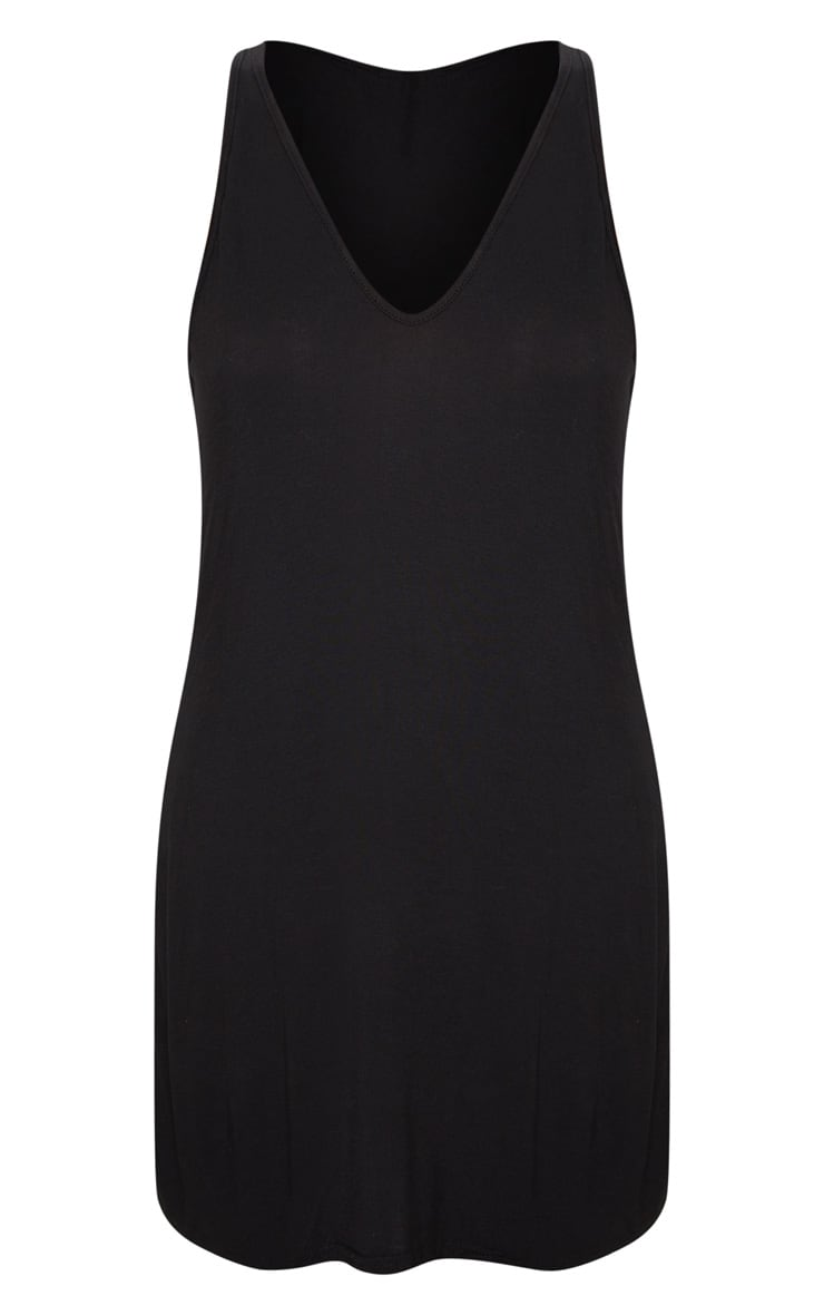 Basic Black Jersey V Plunge Sleeveless Shift Dress 4