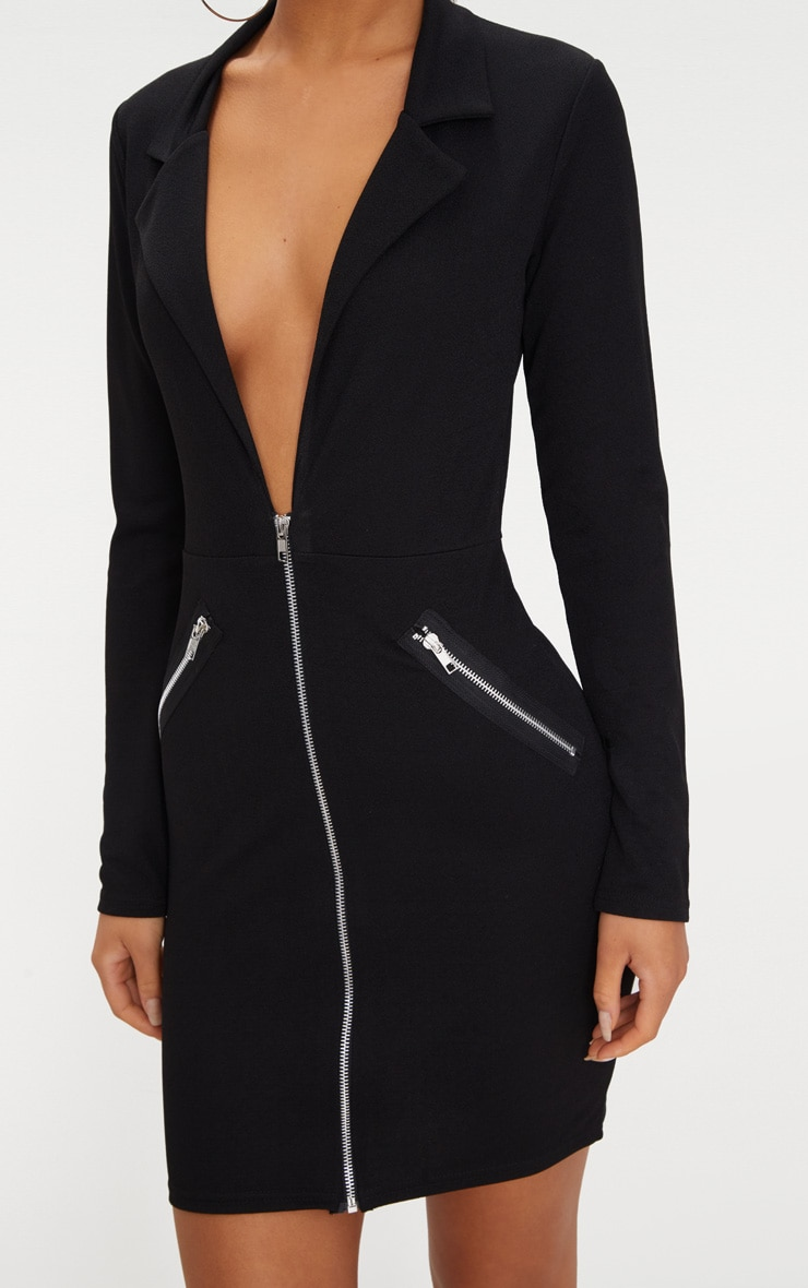 Black Zip Detail Blazer Bodycon Dress 5
