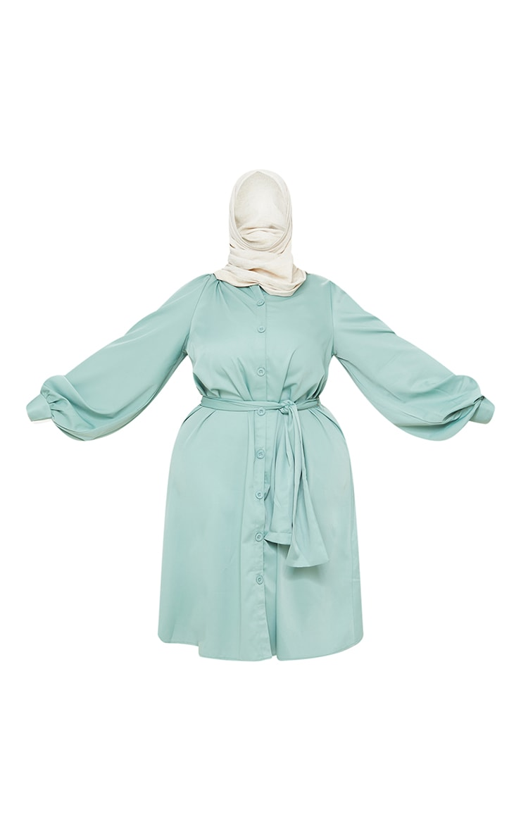 Plus Sage Green Wrap Front Puff Sleeve Shirt Dress 5