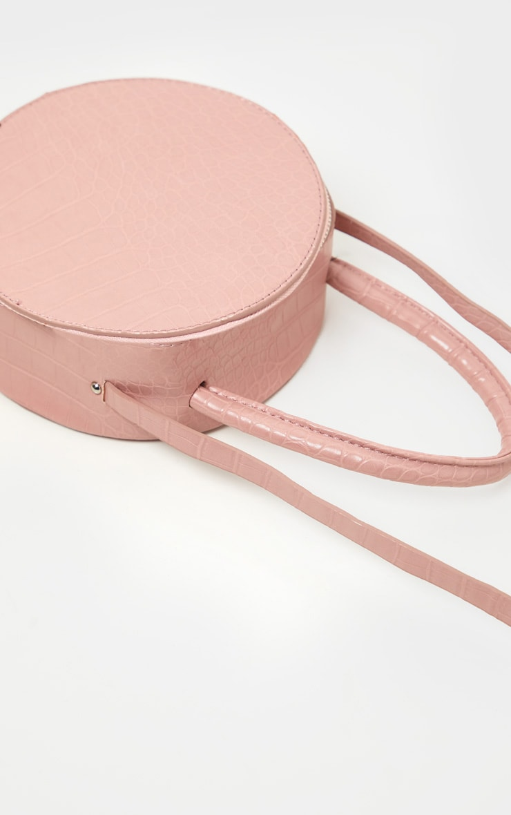 Pink Croc Round Cross Body Bag 2
