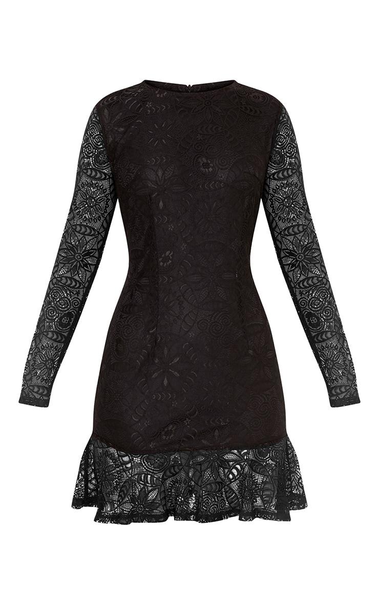 Viktoriah Black Lace Frill Hem Bodycon Dress 3