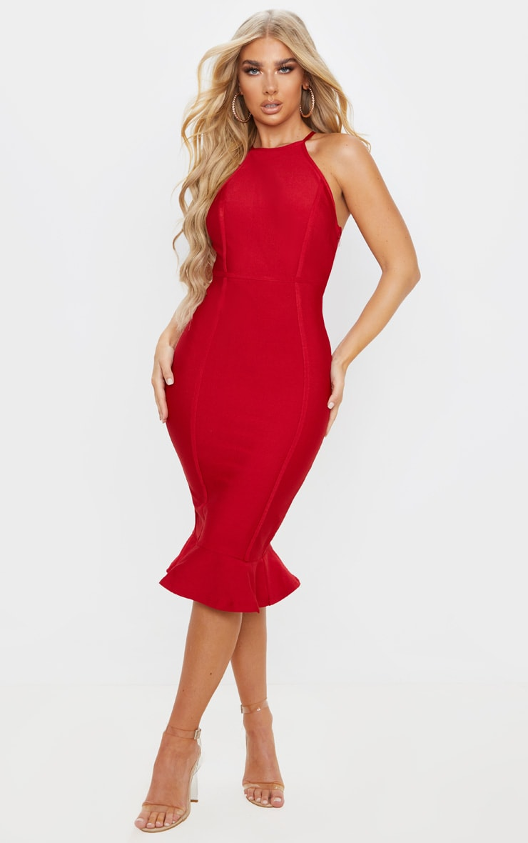 Scarlet Bandage Cross Strap Open Back Frill Hem Midi Dress 1