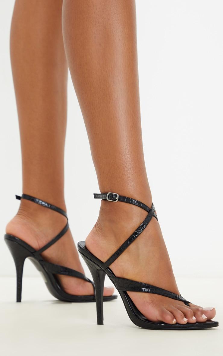 Black Croc Low Heel Toe Thong Ankle Strap Sandal 2