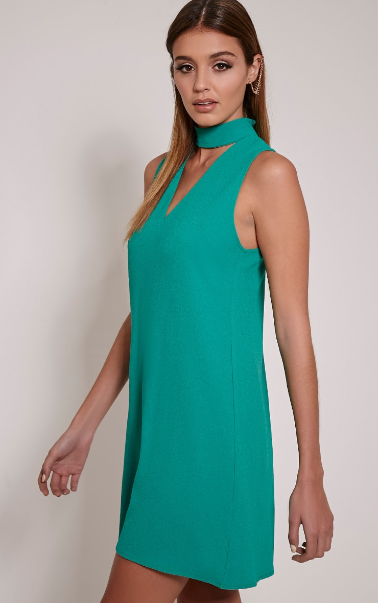 Cinder Bottle Green Choker Detail Loose Fit Dress 4
