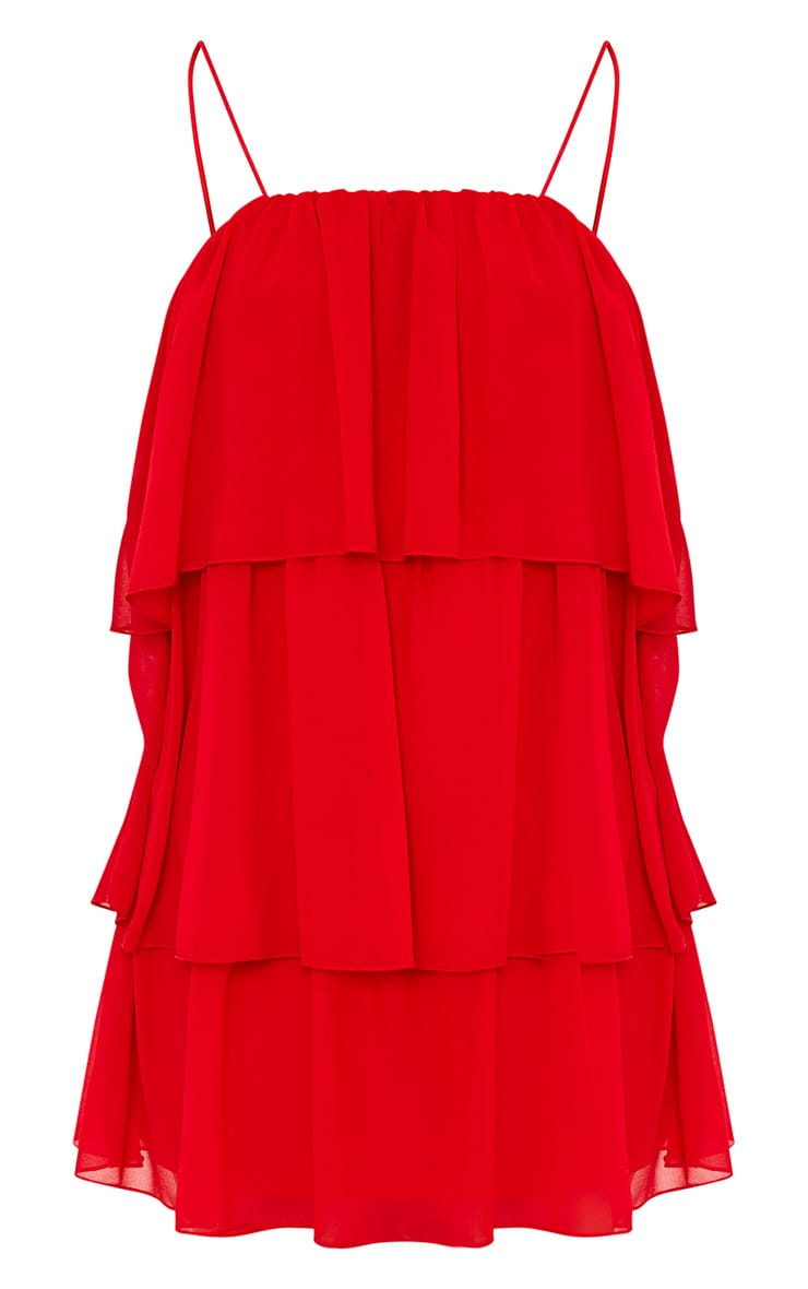 Indira Red Chiffon Frill Layer Shift Dress 3