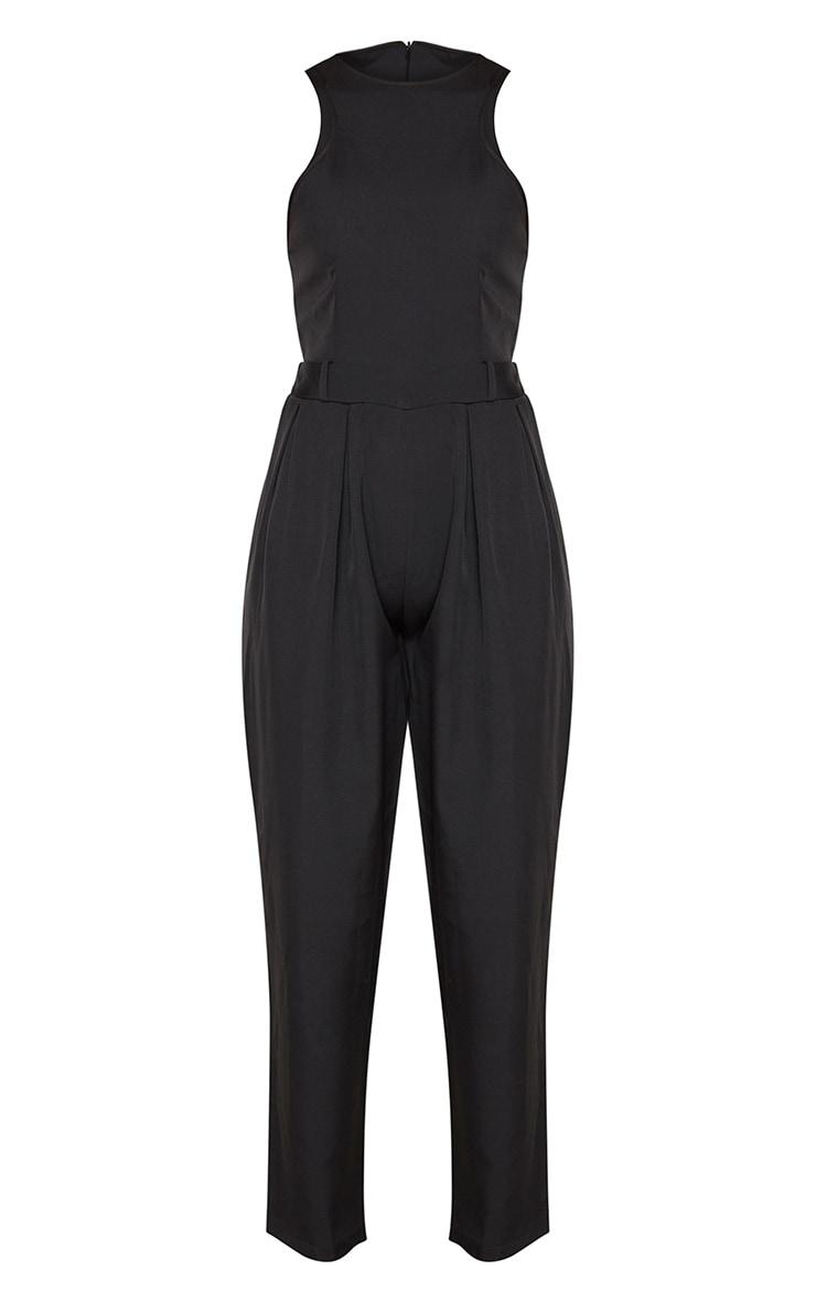 Black Racer Back Pocket Detail Jumpsuit 3