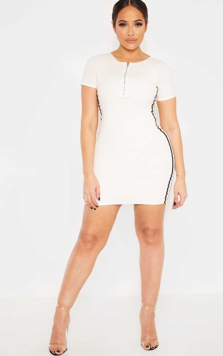 Shape Cream Ribbed Side Stripe Zip Neck Bodycon Dress 4