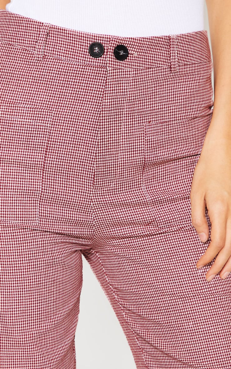 Tall Burgundy Check Square Pocket Straight Leg Trouser 5