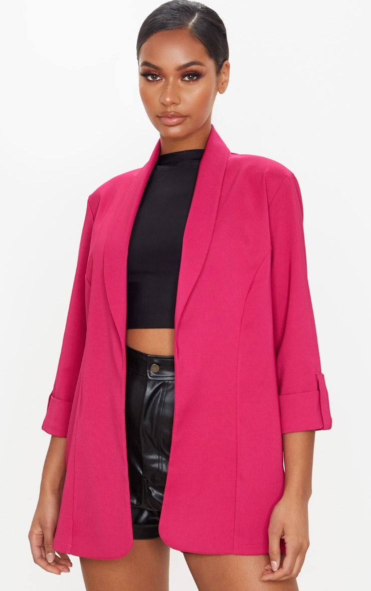 Pink Woven Turn Up Sleeve Blazer 1