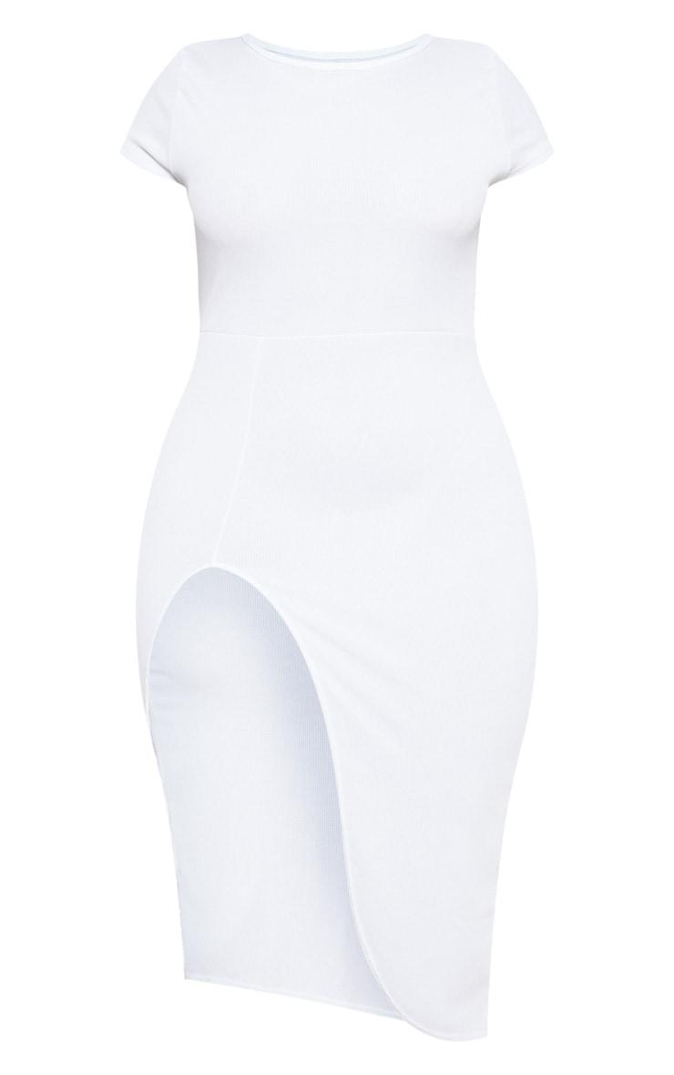 PLT Plus - Robe mi-longue blanche côtelée à manches courtes fendues 3