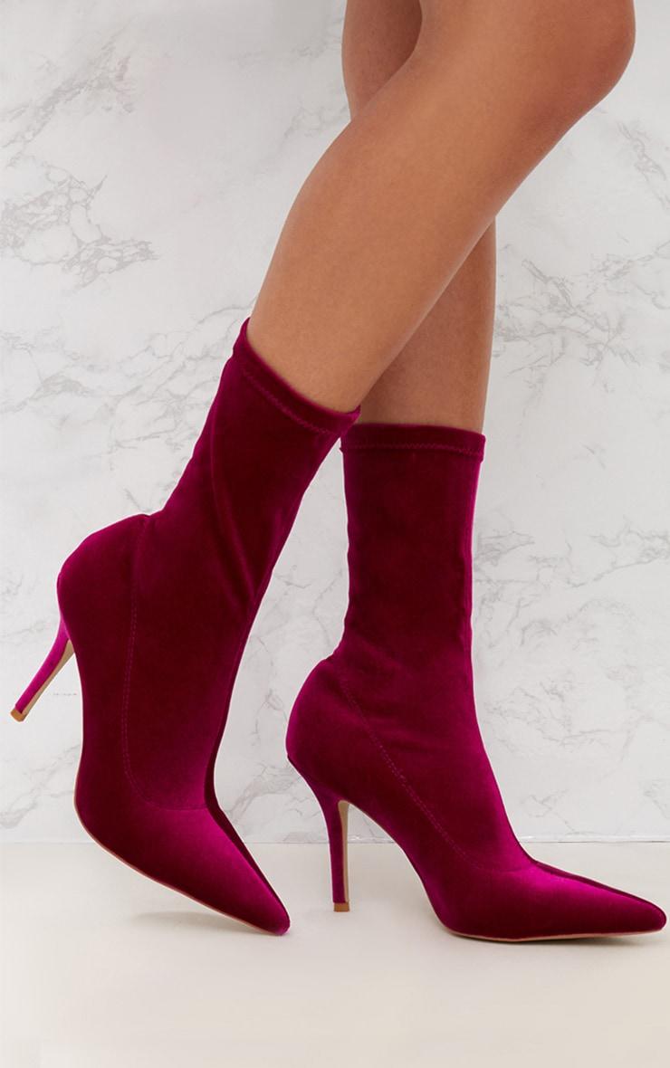 Fuchsia Velvet Pointy Sock Boots 1