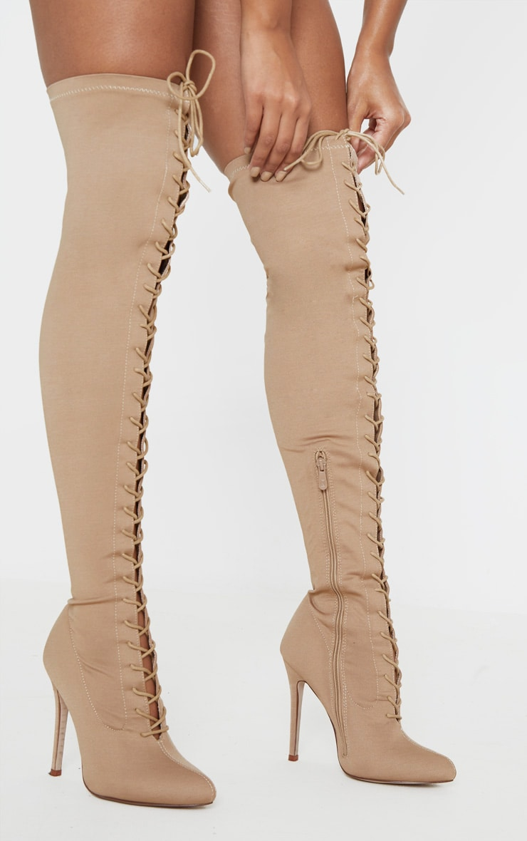 Nude Over The Knee Lace Up Boot by Prettylittlething