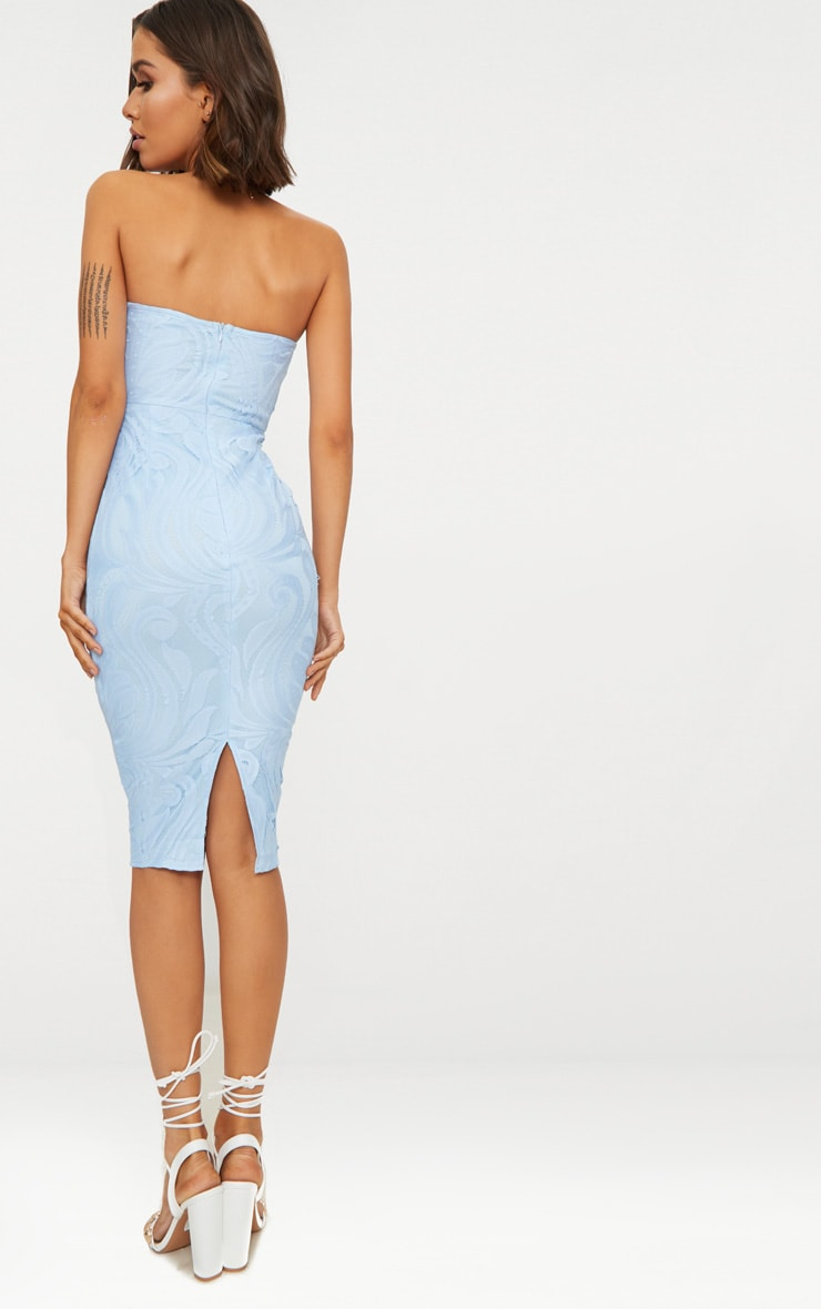 Dusty Blue Lace V Bar Bandeau Midi Dress 2
