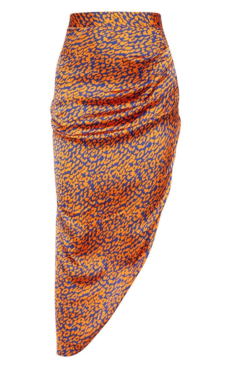 Orange Leopard Print Asymmetric Midi Skirt 3