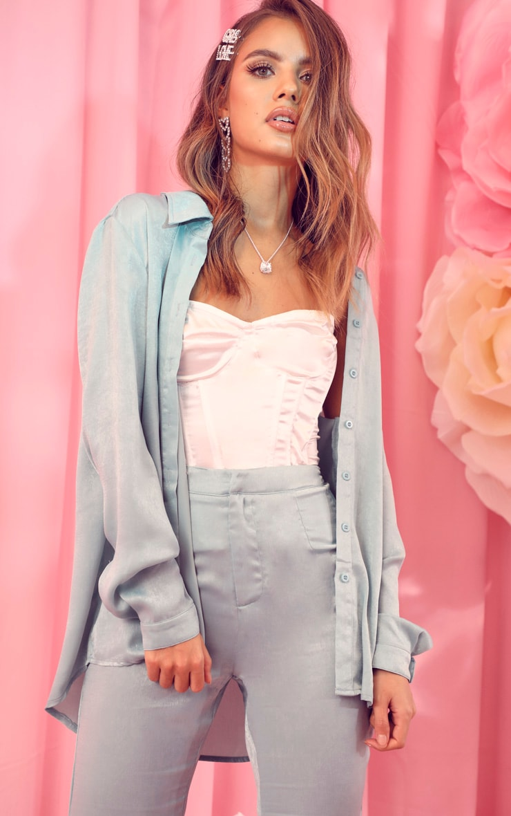 Mint Satin Oversized Shirt 1