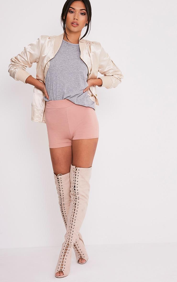 Basic Nude High Waisted Shorts 6