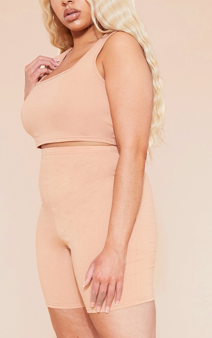 RECYCLED Plus Pale Tan Square Neck Crop Top 6