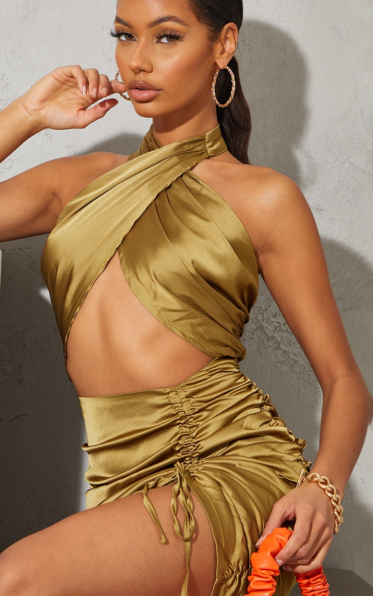 Olive  Satin Halterneck Cut Out Ruched Bodycon Dress 4