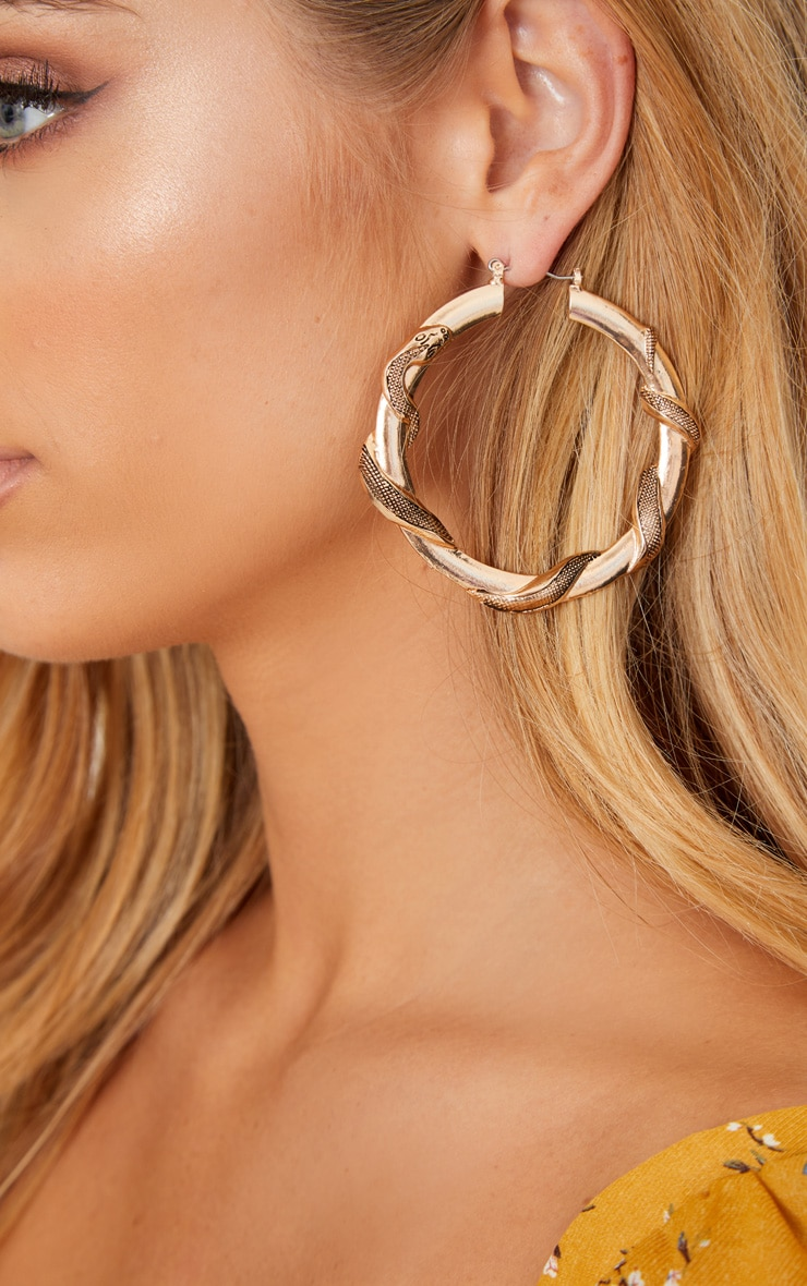 Gold Snake Twist Hoop Earrings 2