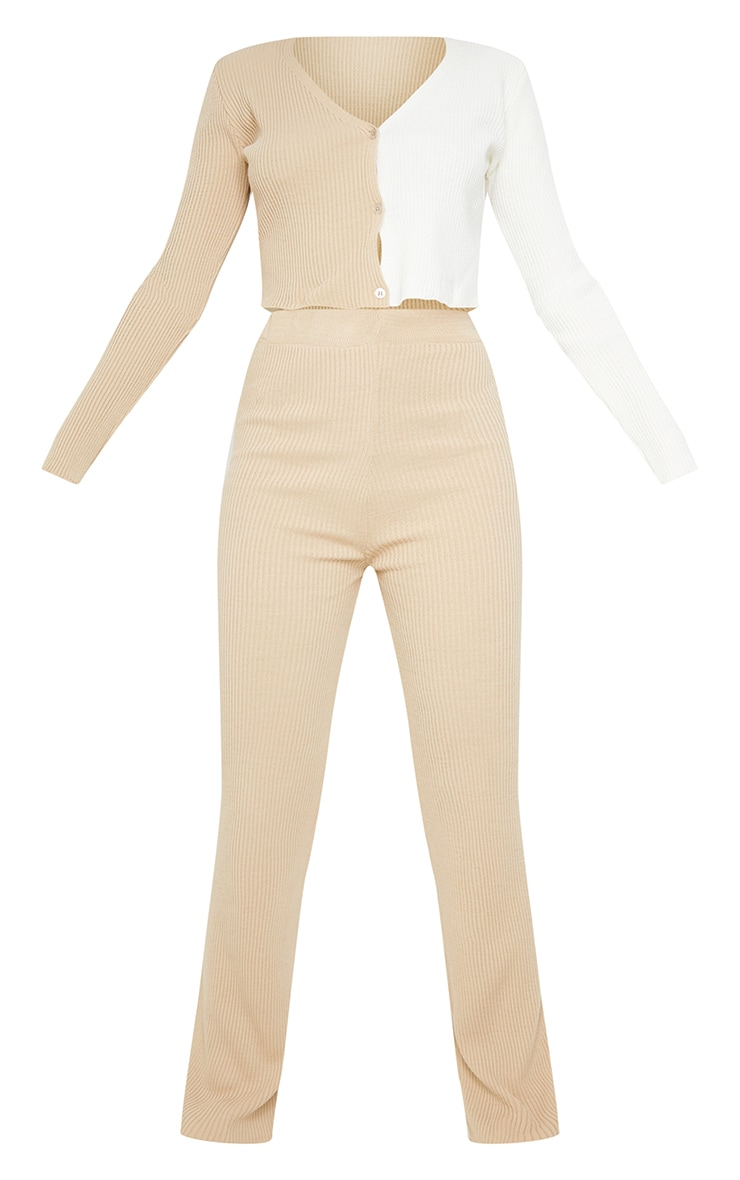 Stone Colour Block Knitted Cardigan and Wide Leg Trousers Set 5