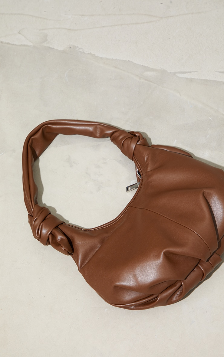 Chocolate Double Knot Rounded Shoulder Bag 2