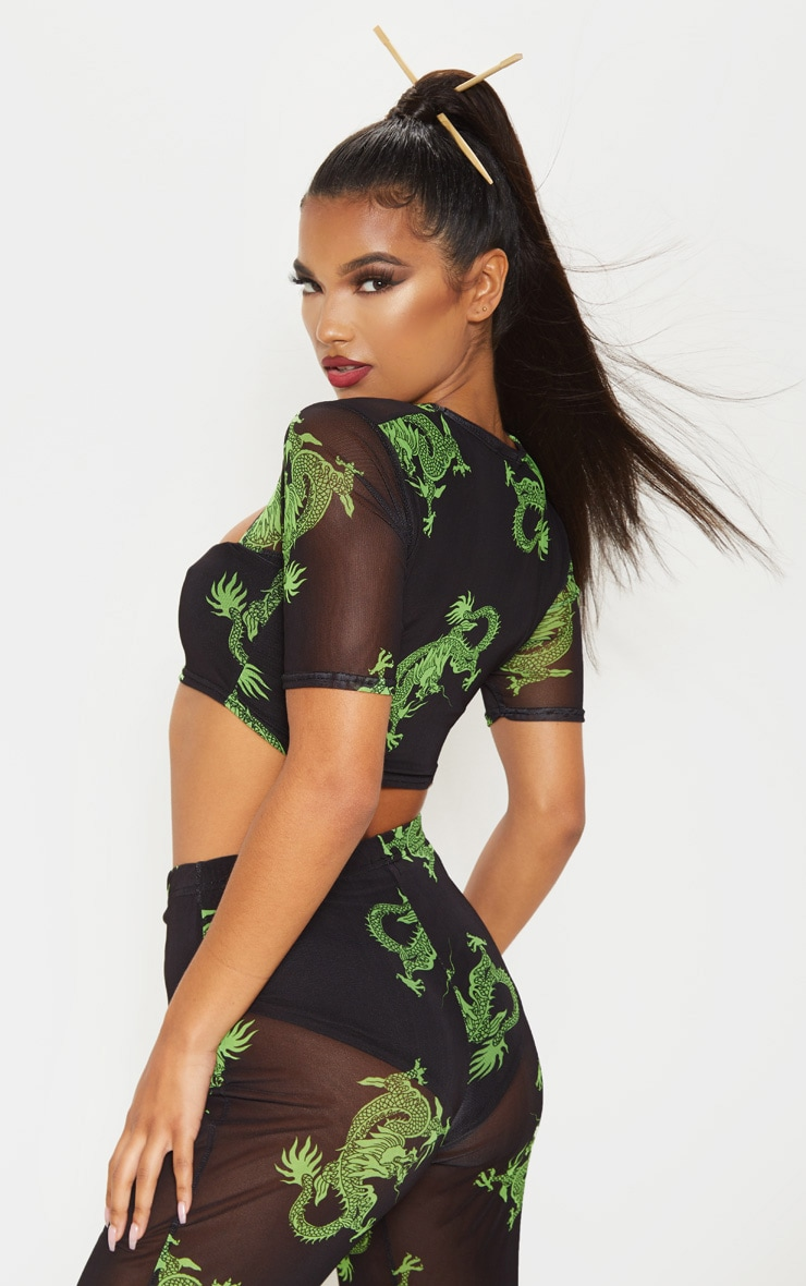 Green Dragon Printed Mesh Cut Out Crop Top 2