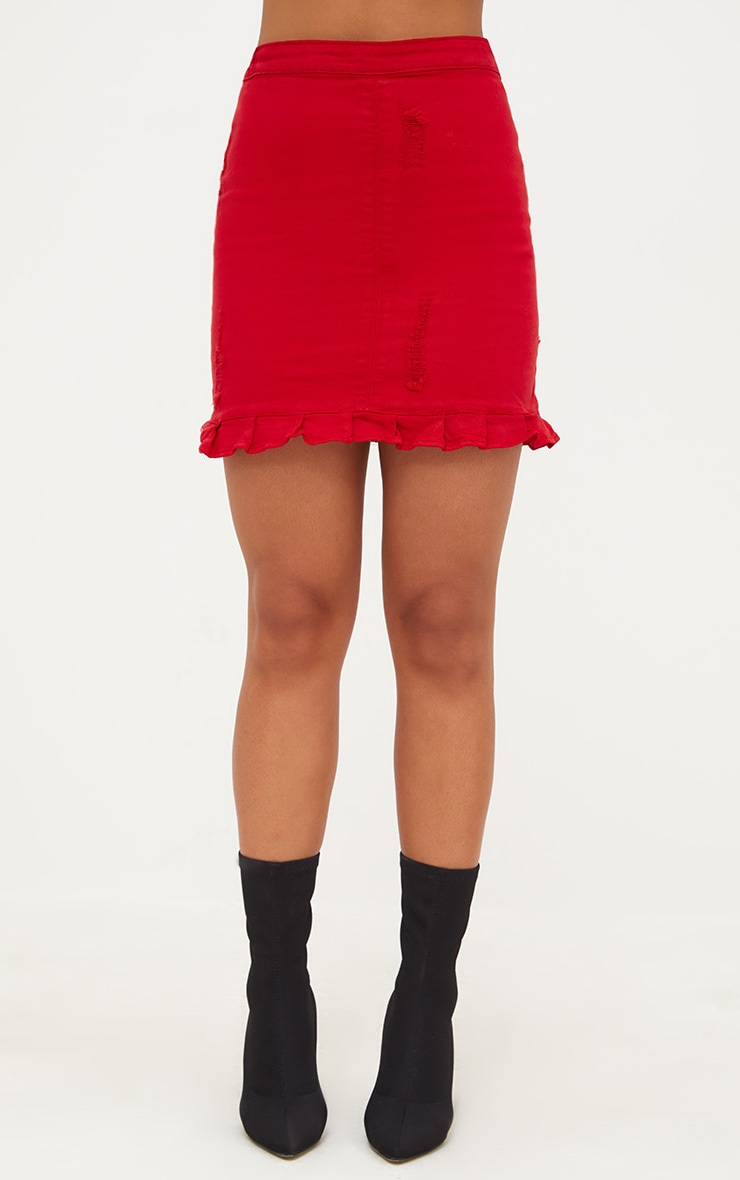 Red Ruffle Hem Denim Skirt 2