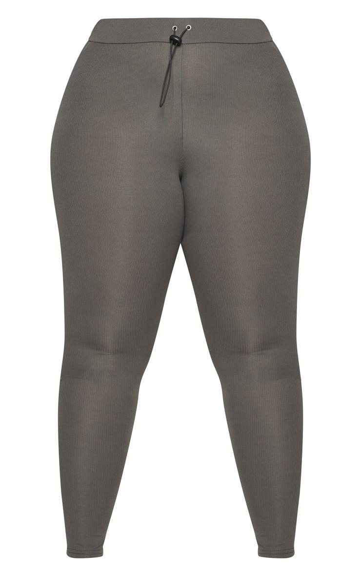 Plus Charcoal Ribbed Leggings 3