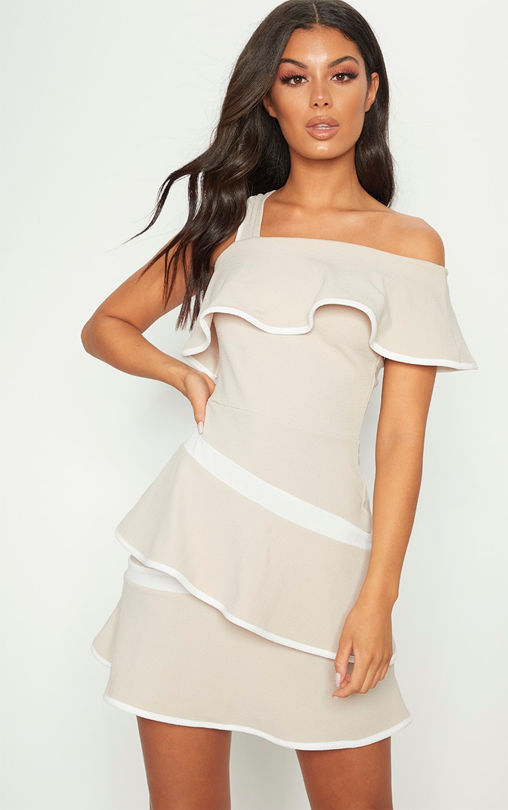 Stone Binding Detail One Shoulder Tiered Skater Dress 1