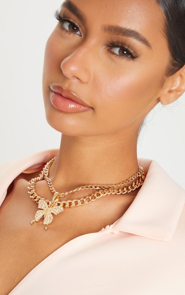 Gold Oversized Butterfly Necklace 1