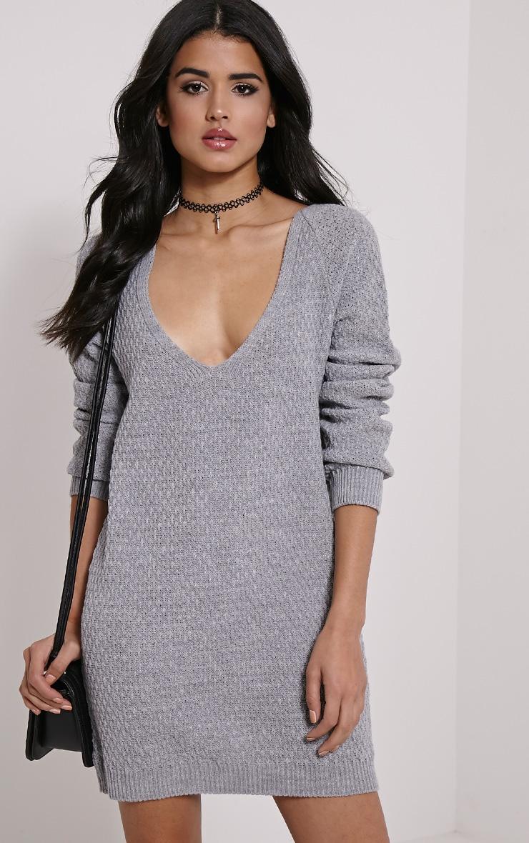 Hatty Grey V Neck Jumper Dress 1