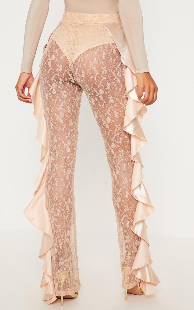 Nude Lace Ruffle Detail Flare Leg Trouser 4