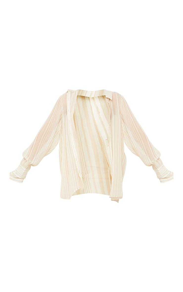 Beige Textured Stripe Woven Oversized Shirt 5
