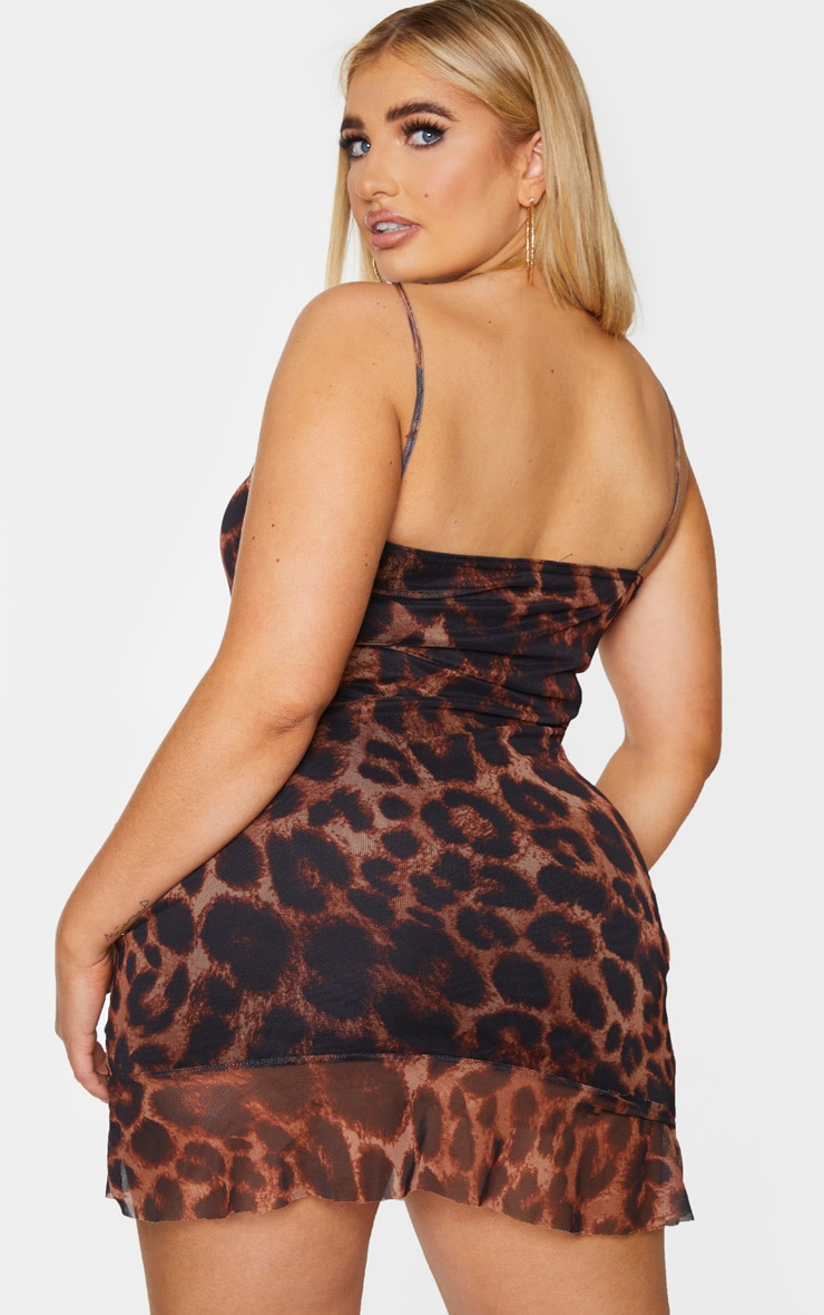 Plus Brown Leopard Print Mesh Ruched Bodycon Dress 2