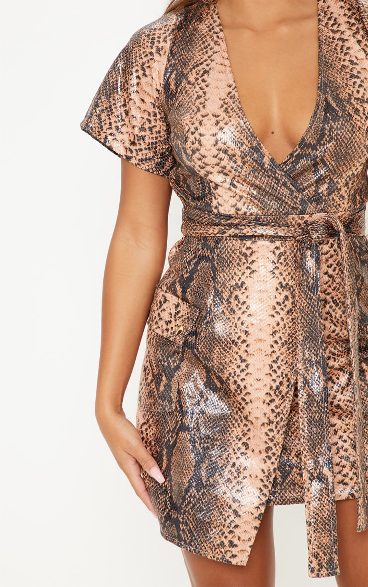 Nude PU Snake Print Wrap Bodycon Dress 5
