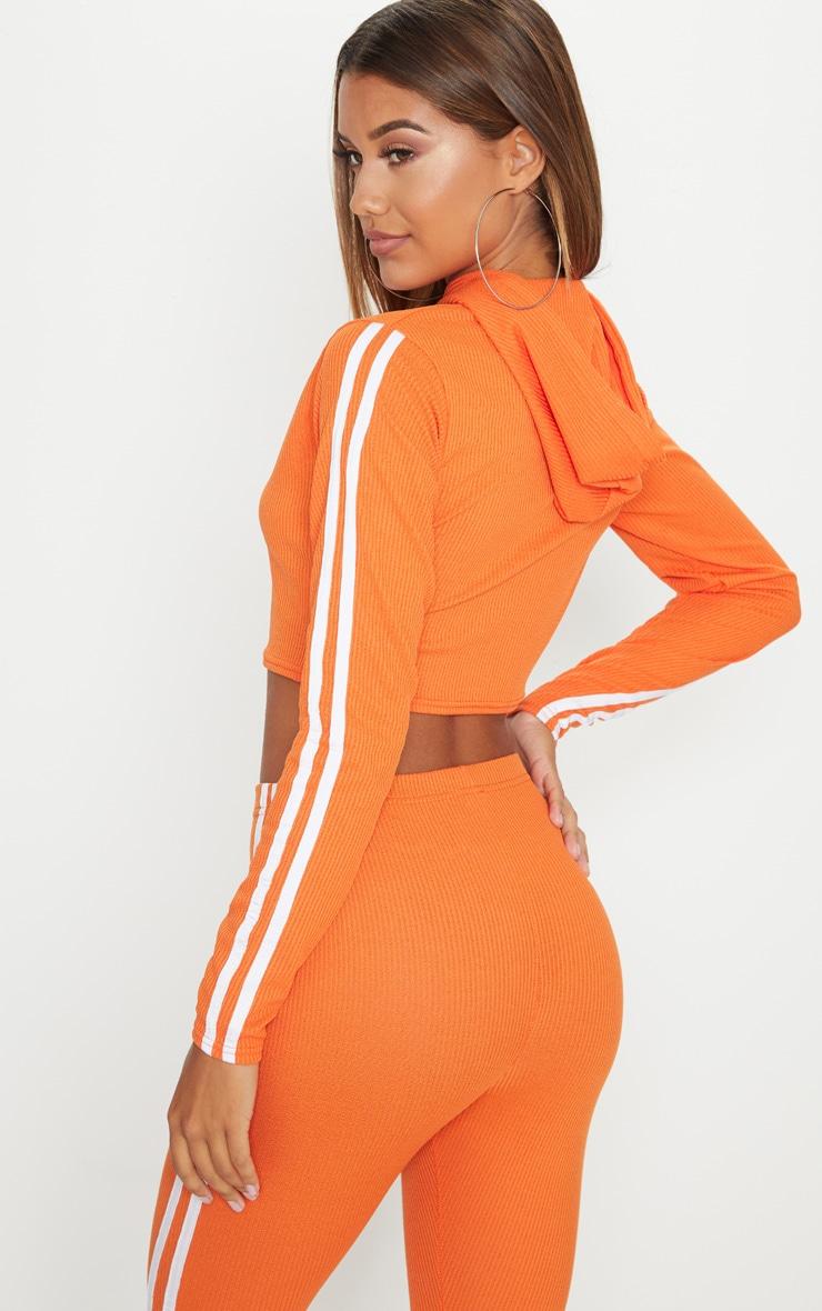 Orange Rib Sport Stripe Detail Cropped Hoodie 2