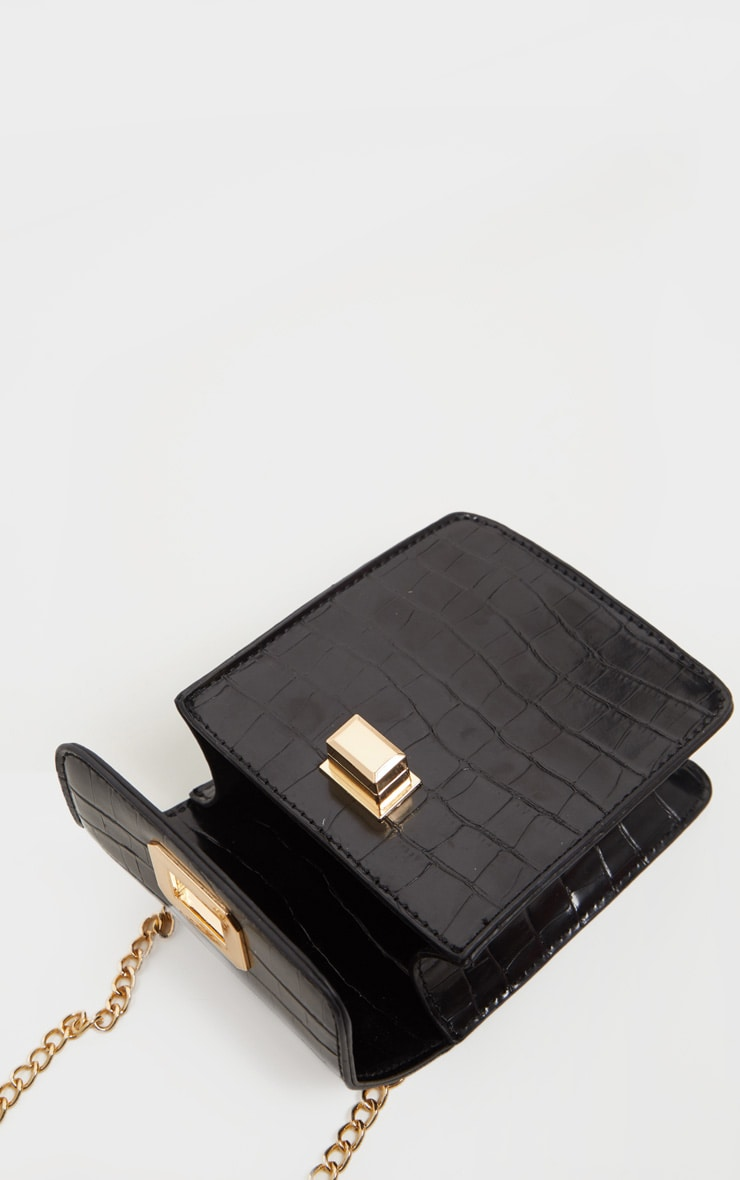 Black Croc Rectangle Cross Body Bag 4