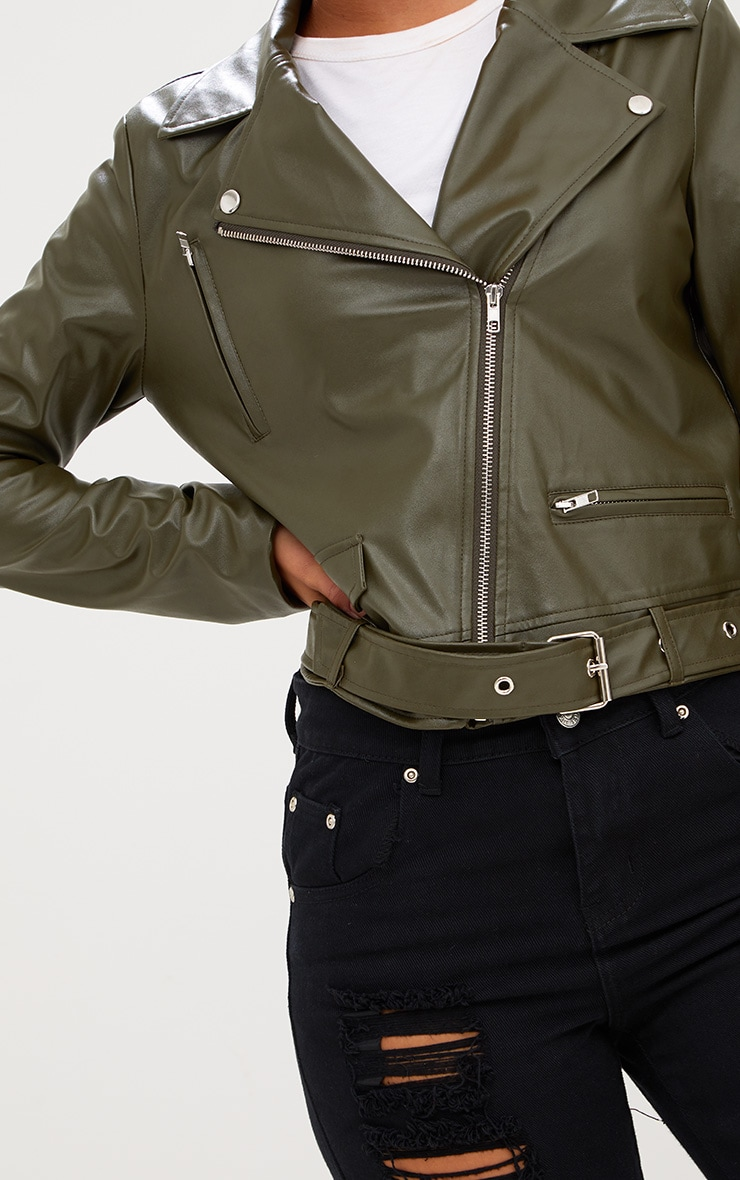 Khaki PU Biker Jacket 5