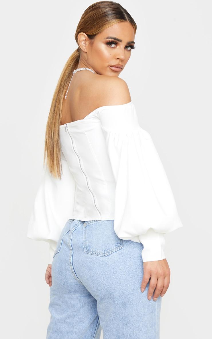 Petite - Top style corset blanc à manches ballon et col bateau 2